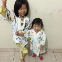 kimono baju handuk anak dasar putih frozen