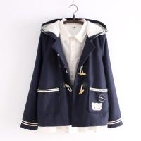 Jual Cutie Cat Toggle Jacket Jaket Kucing Lucu (Navy Dark Grey) Murah