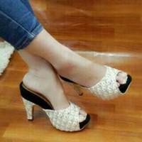 Jual Sepatu Sandal High Heels untuk Wanita Brukat Pesta Harga Murah Online Murah