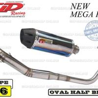 Knalpot CLD New Mega Pro Type C6 Silencer Oval Half Blue