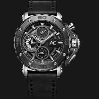 Alexandre Christie AC 9205 MCLTBBA Black Dial Genuine Leather Strap