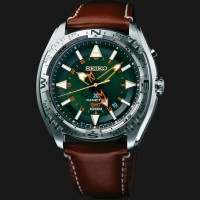 Seiko Prospex SUN051P1 Land Kinetic GMT 100M Brown Leather Strap