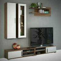 PROMO FREE ONGKIR - Wall Unit Meja Tv Set - MOCCA