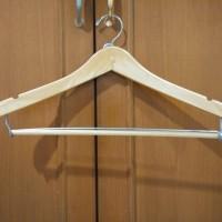 Hanger Kayu Natural Wood / Palang Jepit / Gantungan Baju Celana / Murah