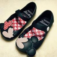 Sepatu Santai Anaka Mickey Minnie Flat Jelly Shoes