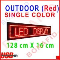 Running Text OUTDOOR Merah 128cm x 16cm (LED display tulisan berjalan