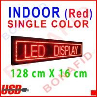 Running Text INDOOR Merah 128cm x 16cm (LED display tulisan berjalan)