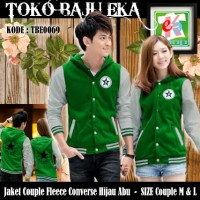 Jaket Couple Fleece All Star Converse Combi Hijau Abu