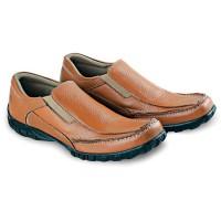 Sepatu Casual Pria Cowok Kets Sneakers Kulit Asli BY50 Tan