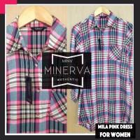 Kemeja Flanel Cewek / Wanita kerja - Mila Pink Dress Flannel