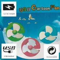 Mini fan Kipas Angin 3 Baling Baling USB 5V Recharge Cartoon G HJ-5001