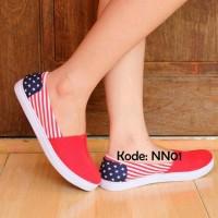 Sepatu Wanita Flat Shoes Model Wakai Nike Adidas Bendera Amerika Merah
