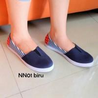 Sepatu Santai Wakai Flat Shoes Wanita Bendera Amerika Biru