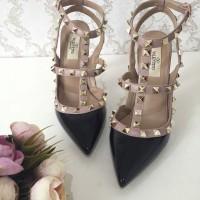 Valentino 2 Strap Heels 10cm Black Glossy Super Mirror