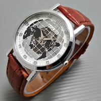 Jam Tangan Pria / Cowok / Arloji Cowok Rolex Globe Leather (2 Warna)