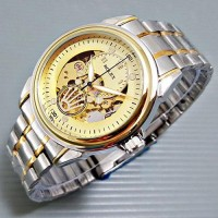 Jam Tangan Pria Rolex Skeleton KING Rantai Kombi Gold