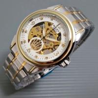 Jam Tangan Pria Matic Rolex Skeleton Jewelry Rantai Kombi White