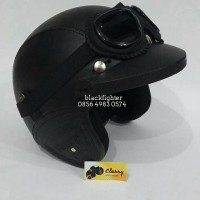 Jual helm retro sintetis SNI hitam polos + topi + google lokal Murah