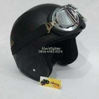 Jual helm retro sintetis SNI hitam polos + google import Murah