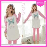 Setelan Baju Sleepwear Wanita Rabbit Terbaru