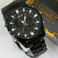 Jam Tangan Cowo Lasebo 8020 Black Chain Font White