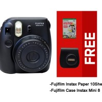 Paket Spesial Fujifilm Instax Mini 8 with Case&Paper 10 Sheets - Black