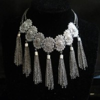 Vintage Silver Flower Necklace / Kalung Import