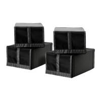 IKEA SKUBB Kotak sepatu, hitam, Set Isi 4