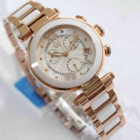 Jam GC Ceramic Ladies Romawi White Rosegold