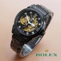 Jam Tangan - Rolex Skeleton Dot Diamond Full Black