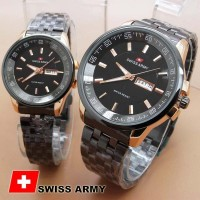 Jam Tangan Couple - Swiss Army TW0967 Couple Black Gold