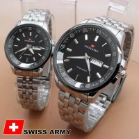 Jam Tangan Couple - Swiss Army TW0967 Couple Black Silver