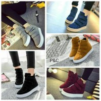Jual sepatu boot murah sneaker flat non wedges Murah