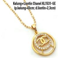 harga KL1531-GE Kalung+Liontin Chanel Perhiasan Lapis Emas Gold Tokopedia.com