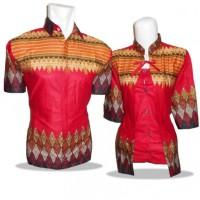 K3-022 Pakaian Baju Batik Couple Murah Merah (Batik Keris-Danar Hadi)