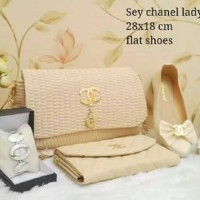 Chanel Ladyana Cream Tas Chanel Tas Pesta Clutch
