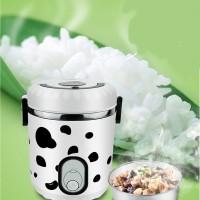 Rice Cooker Portable Utk Piknik Mini Rice Cooker Motif Sapi Kawaii