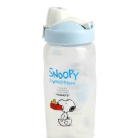 LOCK & LOCK SNOOPY SMILE STRAW WATER BOTTLE/BIRU/LSP601