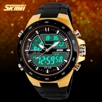 Jam Tangan SKMEI Sporty Digital Analog LED Pria Anti Air (GOLD)