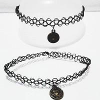 Choker Tattoo Necklace Black Vintage Bronze Coin   Kalung Handmade