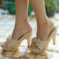 Harga sandal wanita high heels brukat kokop sepatu sendal   WIKIPRICE INDONESIA