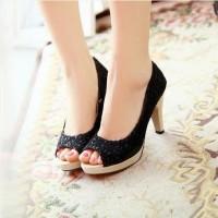 Harga sandal wanita high heels brukat hitam sepatu sendal   WIKIPRICE INDONESIA