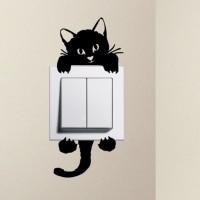 Jual Stiker Dekorasi Saklar Lampu Motif Kucing Unik Cat Decal Wall Sticker Murah