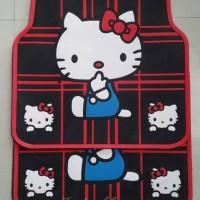 Karpet Karet Mobil Hello Kitty Hitam Garis Merah HK Karpet Karet