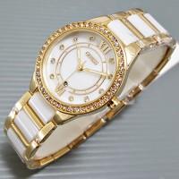 Jam Tangan Guess Ceramica Bulat Gold