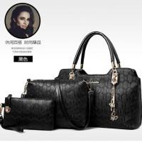 82881 (3in1) - BLACK - Handbag Slempang Pouch Fashion Import Woman
