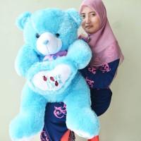 Jual Boneka Teddy Bear Besar Blue I Love You Uk.80cm Murah