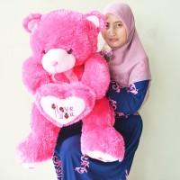 Jual Boneka Teddy Bear Besar Pink Fanta I Love You Uk.80cm Murah
