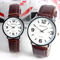 Jam Tangan Couple Montblanc Couple Date Leather Brown White