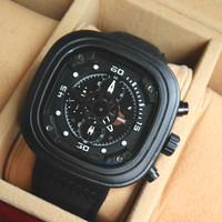Jam Tangan Pria / Cowok Harley Davidson 6034 Leather Black White